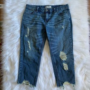 Free People Distressed Boyfriend Style Crop Jeans